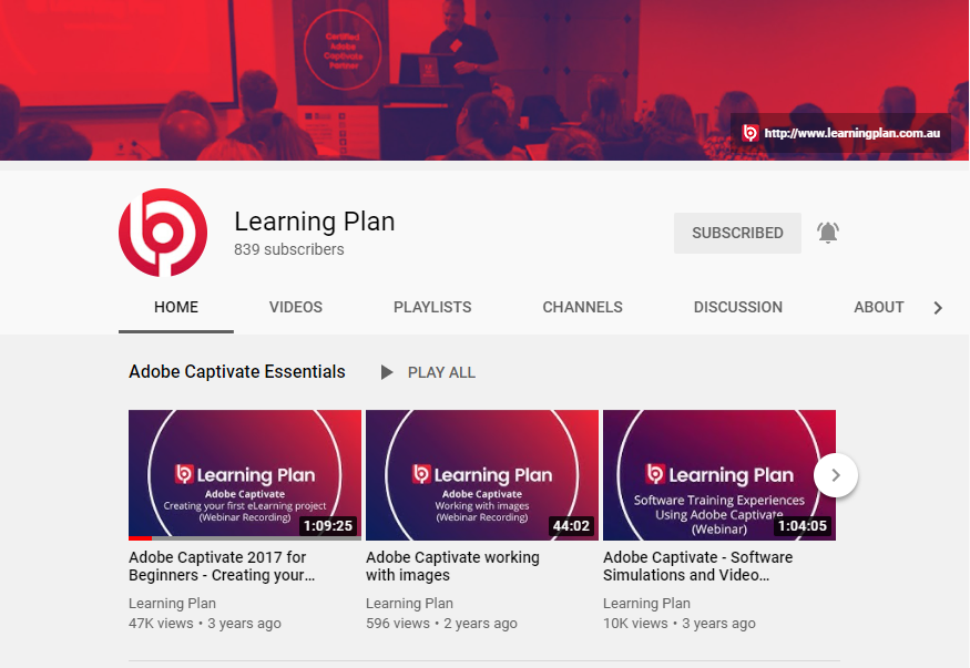 Image of Learning Plan YouTube channel. Click to visit our YouTube channel for Adobe Captivate videos.